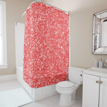 White and red sparkling glitter shower curtain for White glitter bathroom accessories