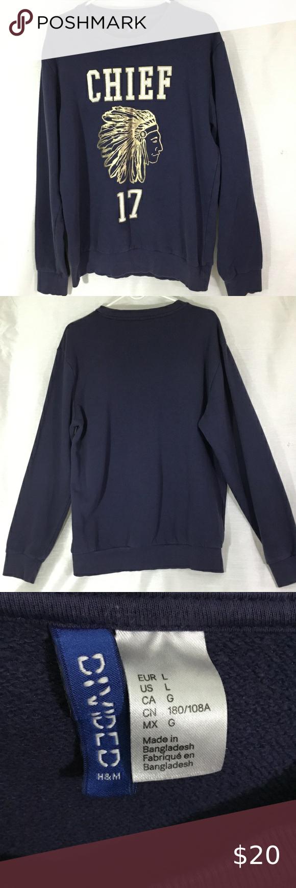 Divided Men Navy Blue Graphic Chief Sweatshirt L Long Sleeve Tshirt Men Sweatshirts Men [ 1740 x 580 Pixel ]