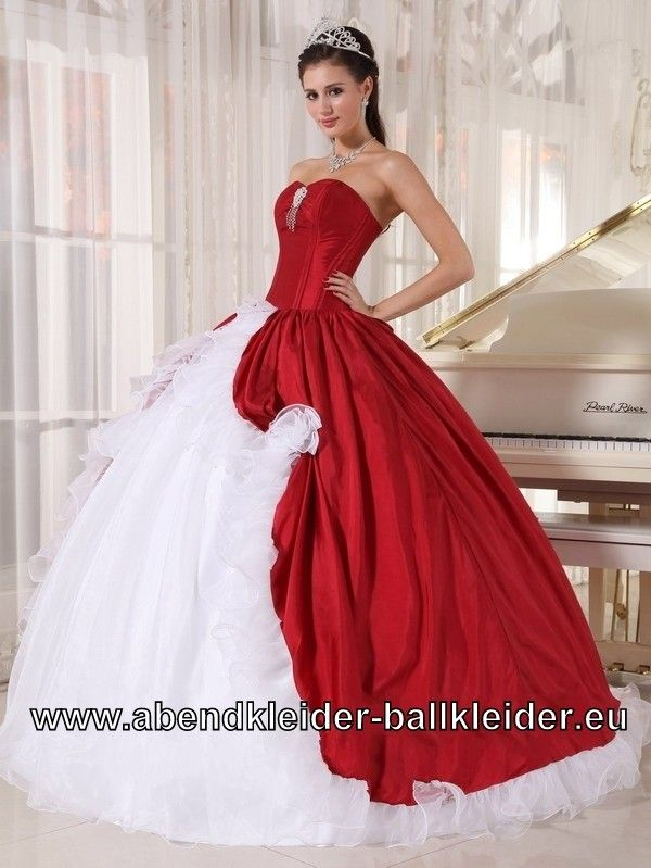 Klassisches Brautkleid Abendkleid Ballkleid in Rot Weiss ...