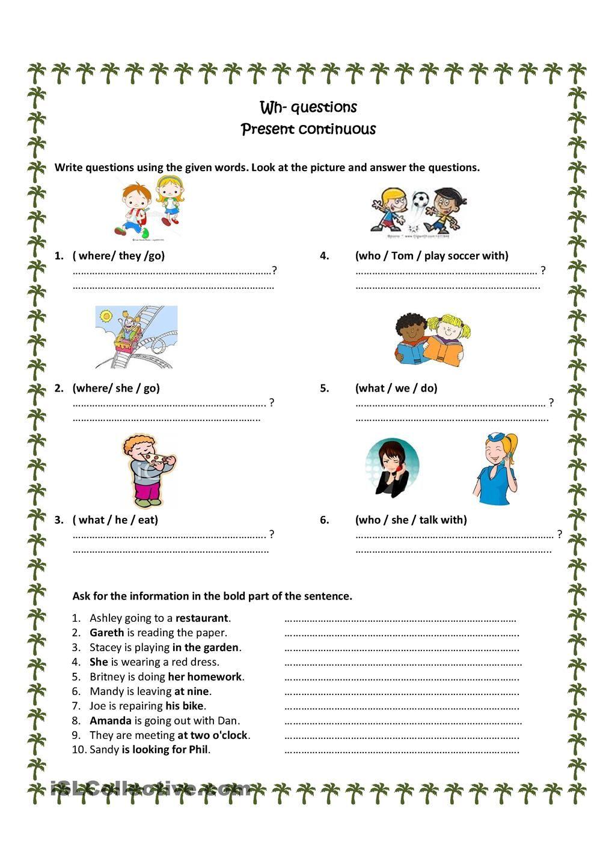 Wh Questions Present Progressive Teaching 1st Grade