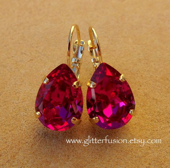 1211d177a Fuchsia Swarovski Crystal Pear Shaped Statement Earrings, Deep Pink Magenta  Teardrop Crystal Bridesmaid Earrings, Swarovski Elegant Earrings