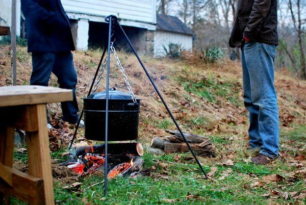 open fire soup making