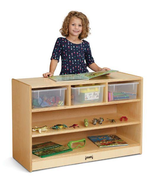 Toy Chests Jonti-Craft 04400JC011 Maplewave Mobile Storage Island With Clear Trays Jonti Craft Furniture