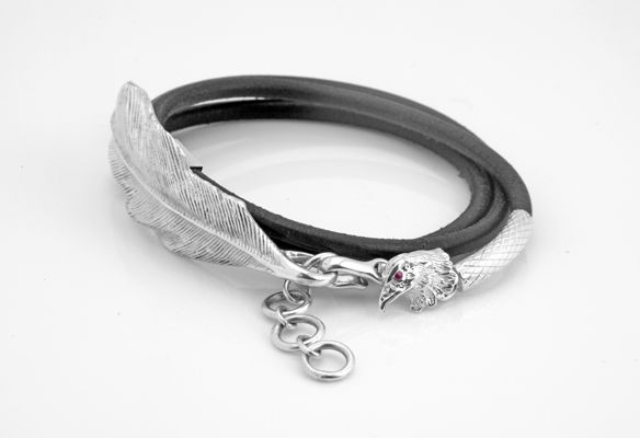 Feather Silver Bracelet Design. Sterling Silver 925 With Ruby Stone.