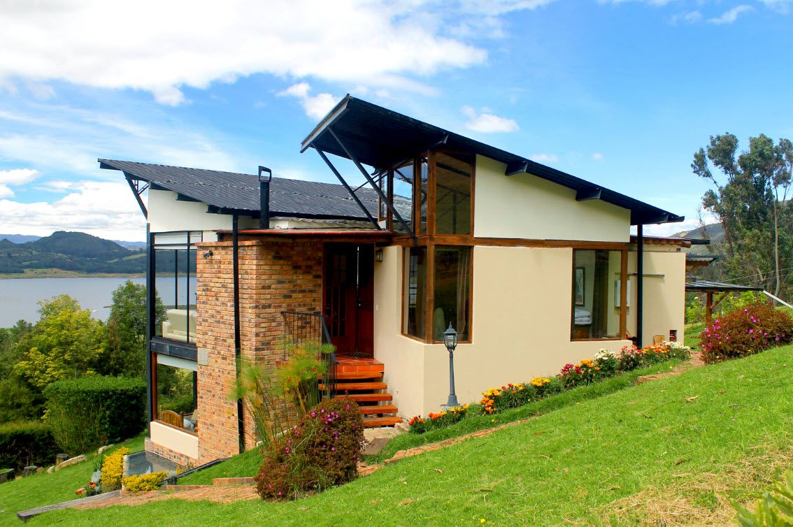 Casa de campo moderna de dos pisos armoniosa estructura - Paisajes de casas de campo ...