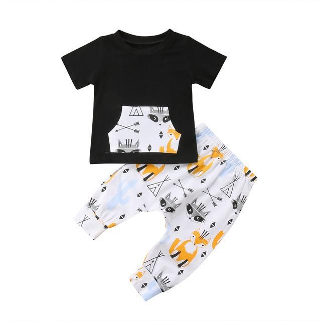 Toddler Baby Boys Kids Summer Clothes Fox T-shirt Top Shorts Pant Outfits Set