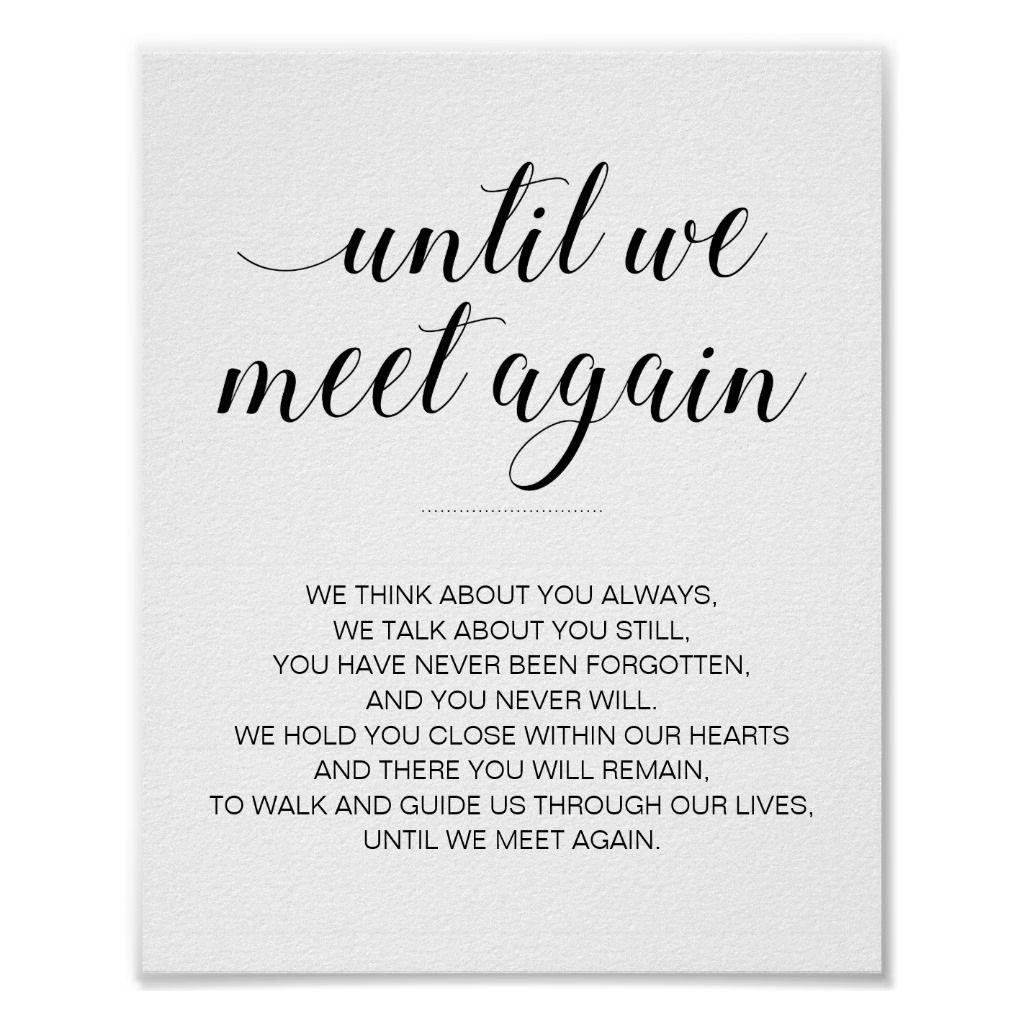 Modern Black and White Wedding Poem Memorial Sign