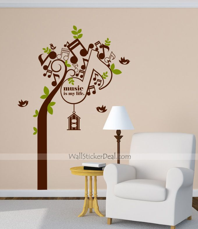 Music Is My Life Tree Wall Sticker This Would Be Cool To Put Next - How to put a decal on my wall