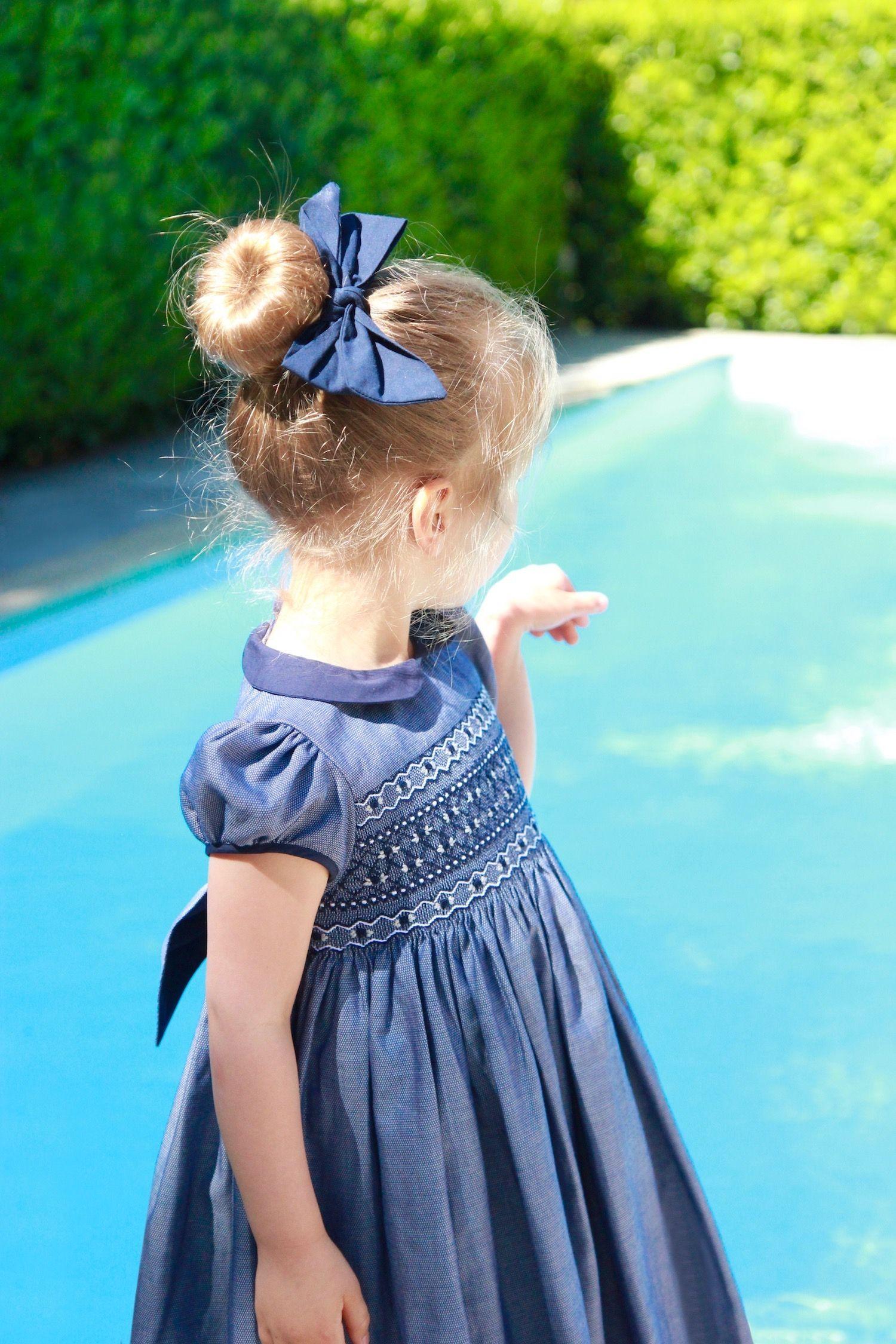 Heirloom Hand Smocked Girls Blue Haze Silk Dress