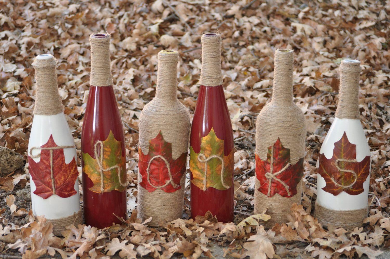 Thanks Wine Bottles Give Thanks Wine Bottles Thanksgiving Center Piece Thanksgiving Wine Bottles Fall Centerpiece Glass Bottle Crafts Wine Bottle Crafts Wine Bottle Diy Crafts