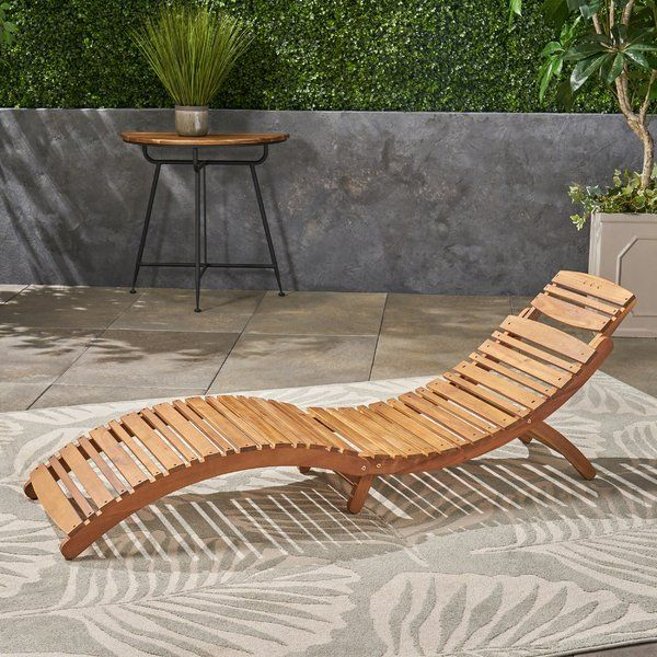 Beachcrest Home Tifany Wood Outdoor Chaise Lounge ...