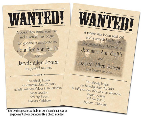 Wanted Poster Printable Wedding Invitations Reply Cards