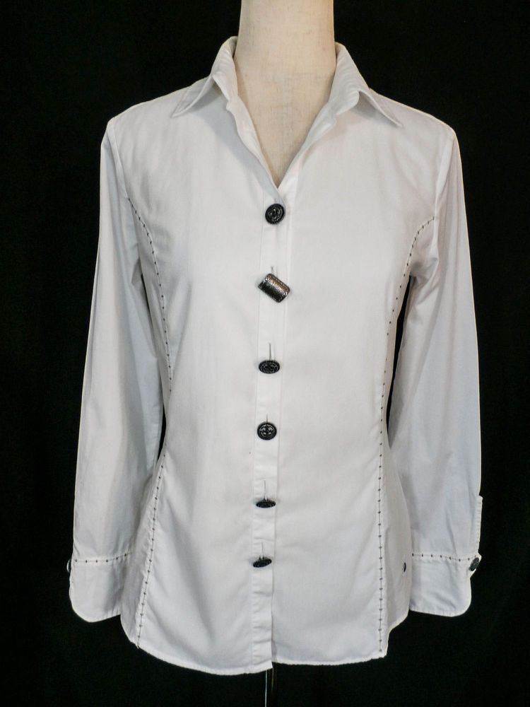 cf32eb9b DISMERO MADE IN ITALY sz M WHITE STRETCH COTTON FITTED BLOUSE PERFECT  CONDITION #Dismero #Blouse #Any