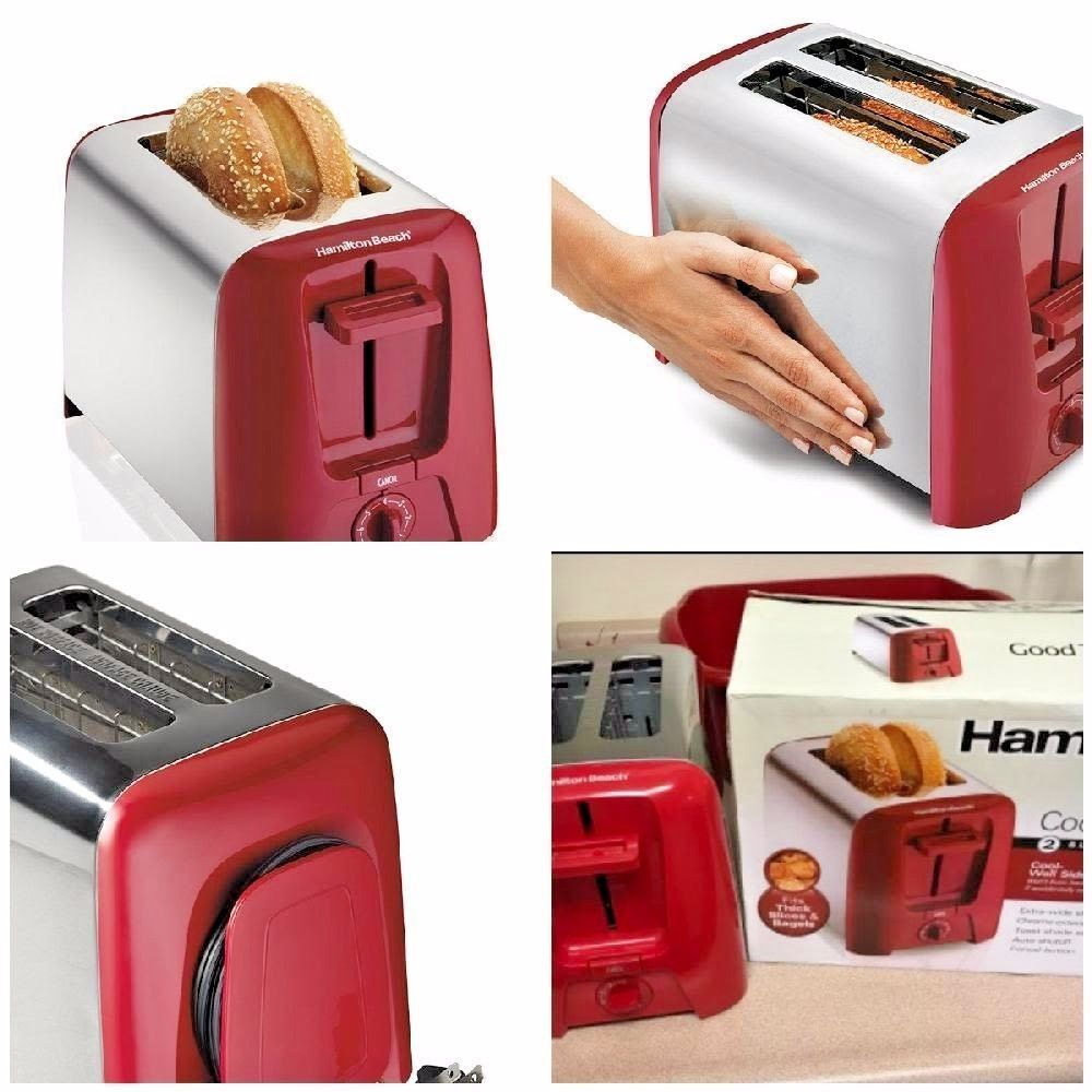 2 Slice Slot Toaster Auto Shutoff Bread Bagel Slide Out Crumb Tray Toast Chrome