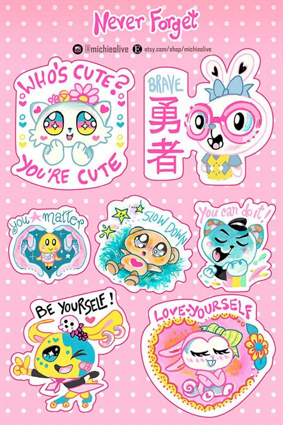 Self Love Stickers positive stickers anime japanese cute