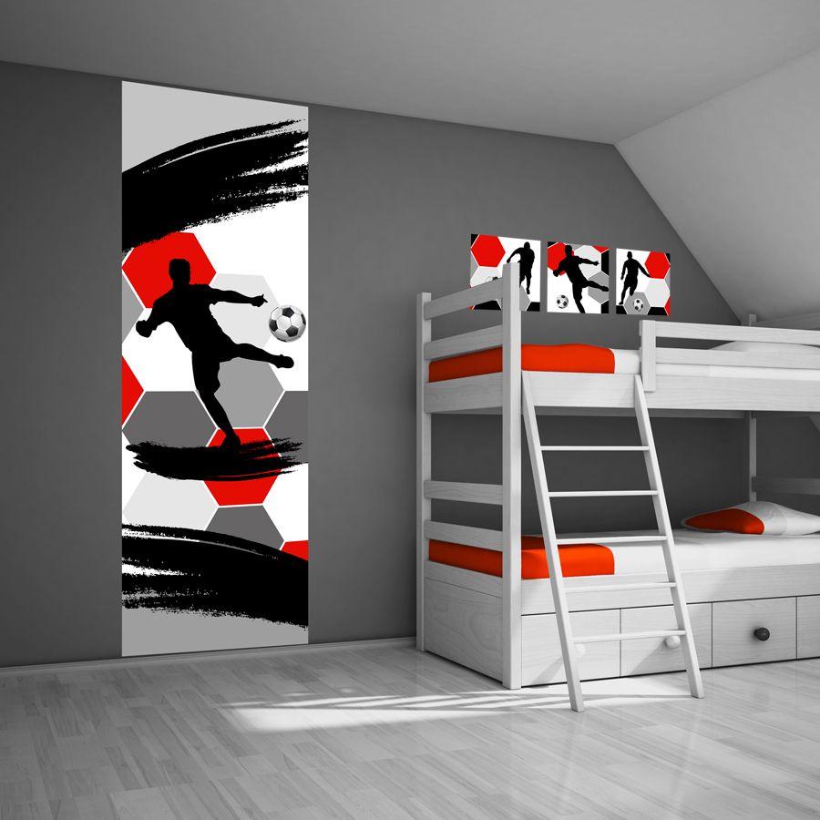 Dit stoere voetbal muursticker paneel is door de kleuren rood/wit ...