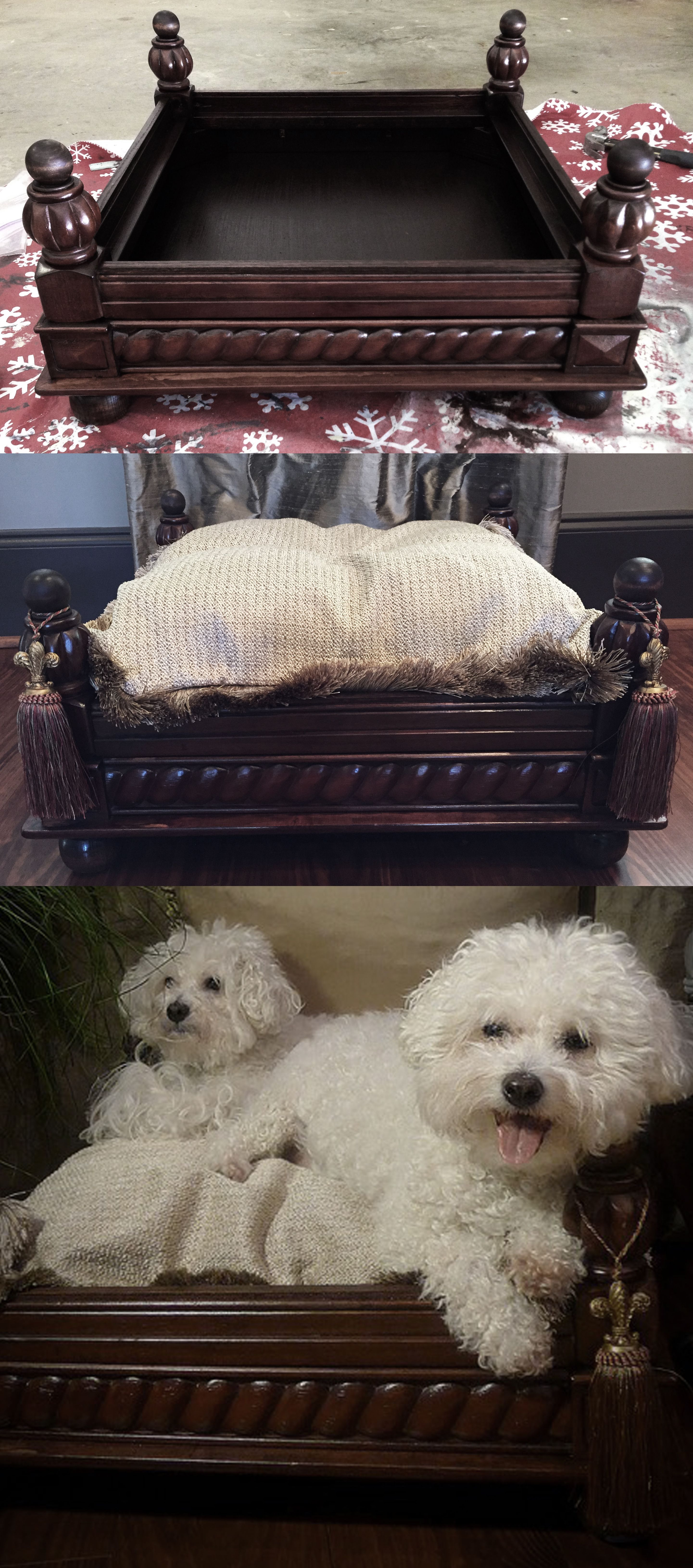Dog bed repurposed from an end table dog beds Diy dog