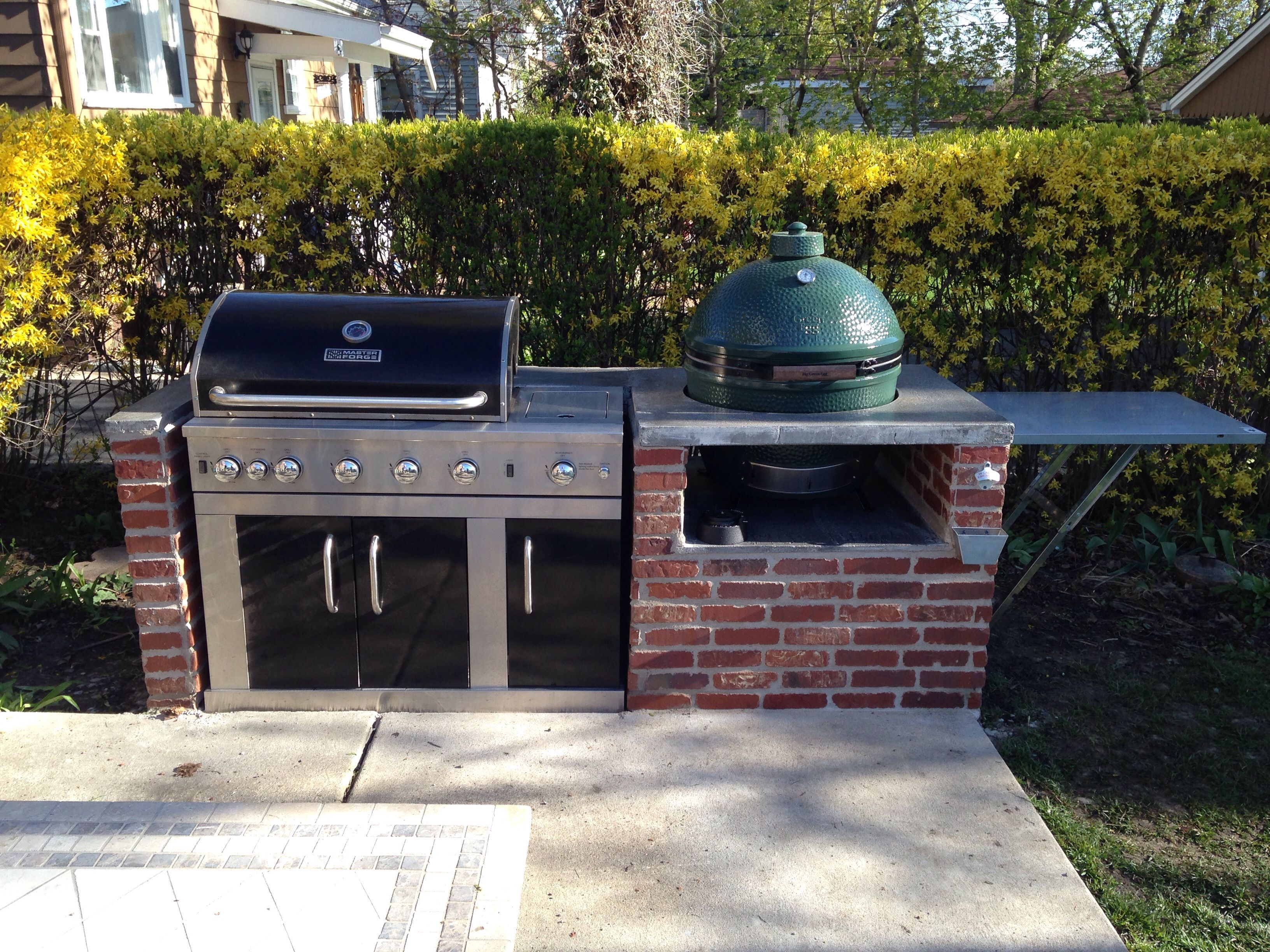 Image Result For Gas Grill And Green Egg Combo Gas Grill Big Green Egg Table Outdoor Patio