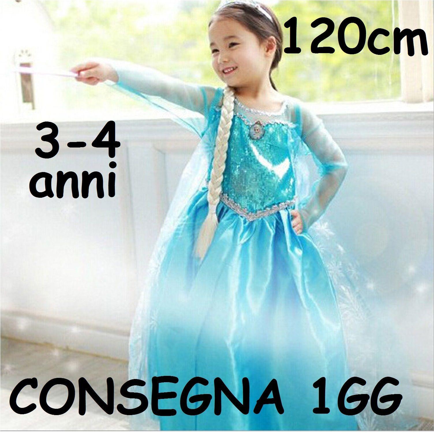 Maschera Carnevale Vestito Costume principessa Elsa regno di ghiaccio Frozen  taglia 3 4 5 6 7 8 anni Bambina deca9833abc