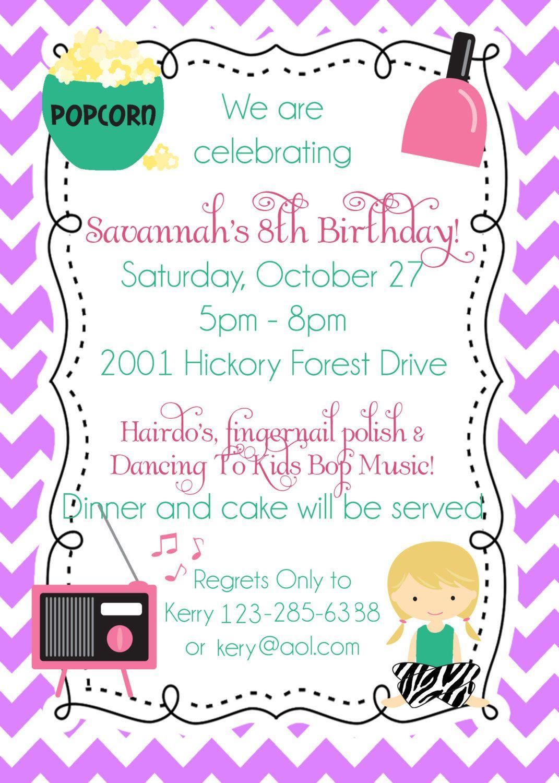 Pretty Slumber Party Birthday Invitations Photos - Invitation Card ...