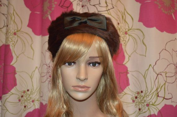 Pretty real fur vintage hat with satin bow  by ClaireLouVintage