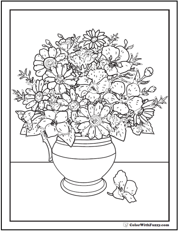 Asters And Poppies Coloring Pages Vase Flowers