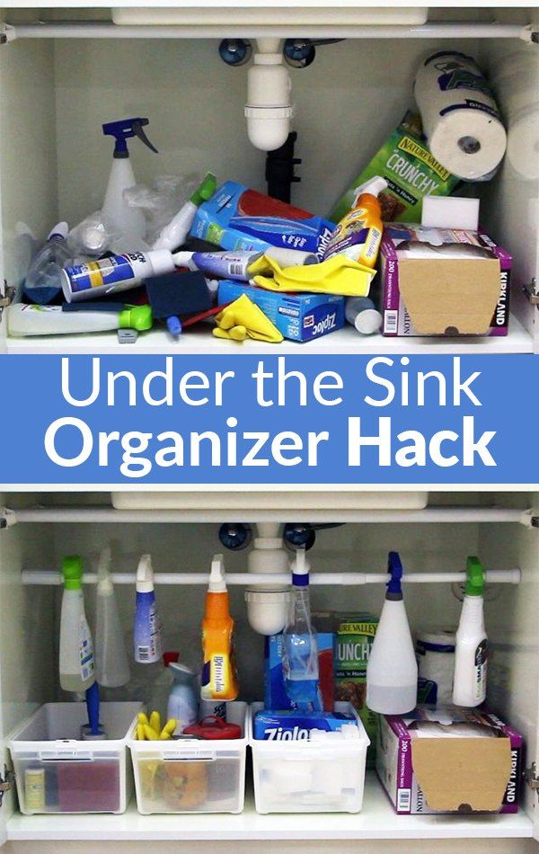 Easiest Under The Sink Organizer Hack Kitchen Sink Storage Kitchen Organization Diy Diy Kitchen Storage