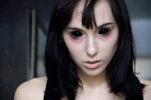 COLORED CONTACTS FULL EYES SCLERA BLACK