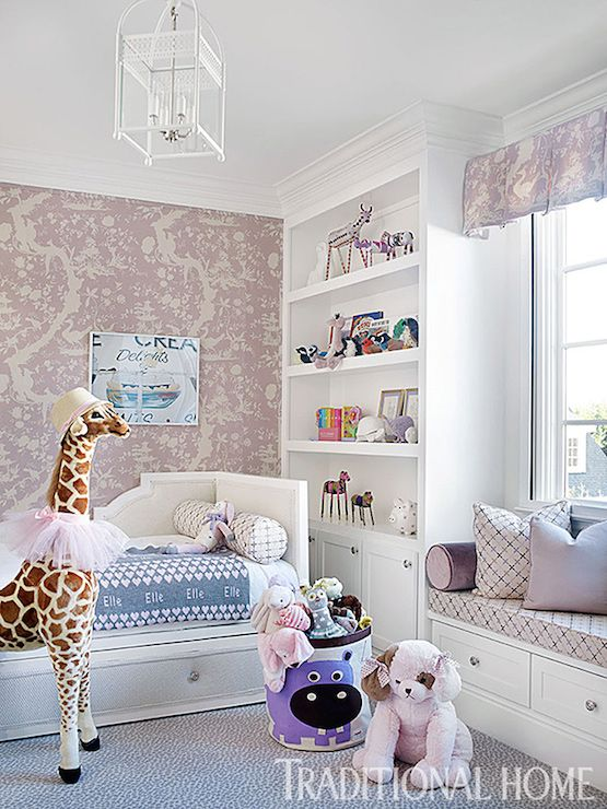 plush design little girl room. Chic little girl s room boasts accent wall clad in cream and lavender swan  wallpaper framing white