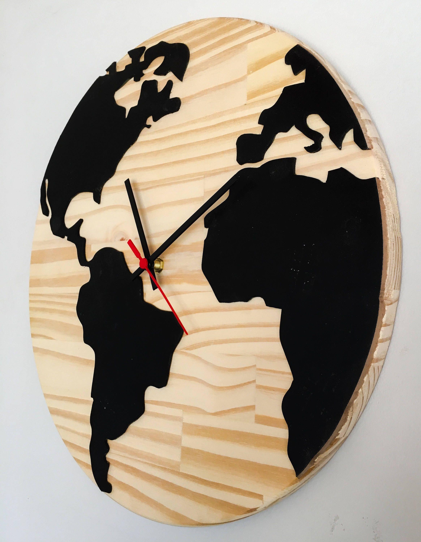 Map mundi wall clock madeira mapas y reloj wooden wall clock world map relgio mapa mundi em madeira para parede gumiabroncs Image collections