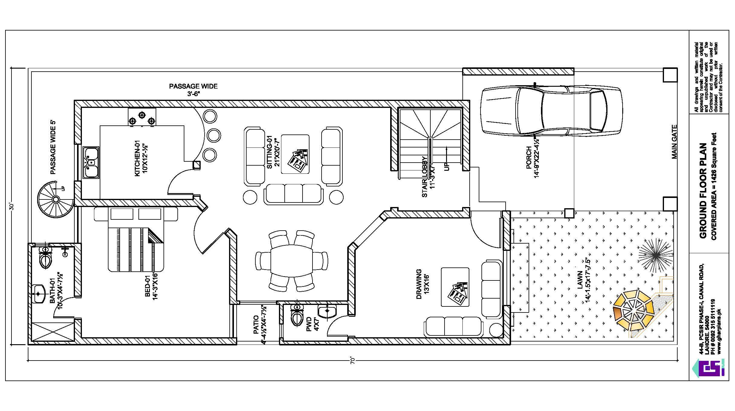 30 Ft X 70 Ft Ground Floor Plan Free Floor Plans Basement House Plans Corner House