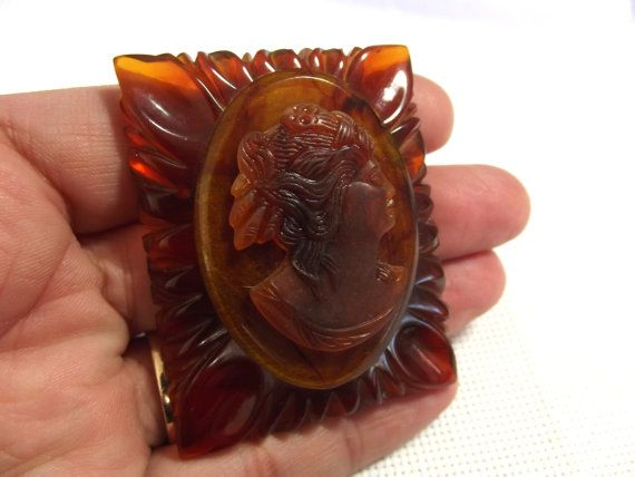 Vintage Jewelry Bakelite Brooch Cameo Pin by SophiesHatsandMore