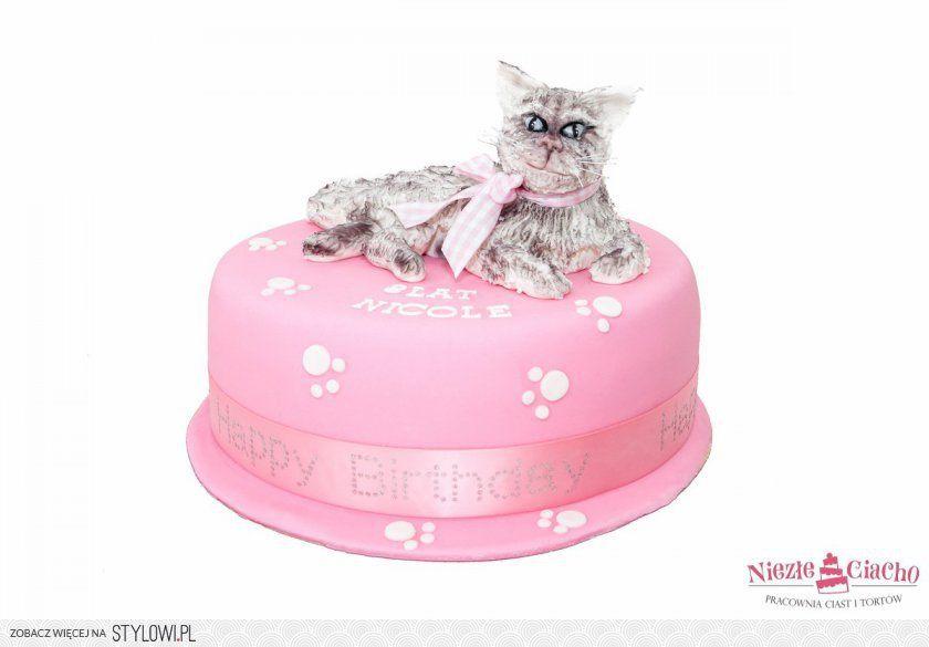 Różowy Tort Z Kotem Kot Na Torcie Kotek Tort Urodzinowy Urodziny