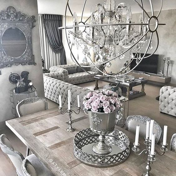 Gorgeous Interior Silver Living Room