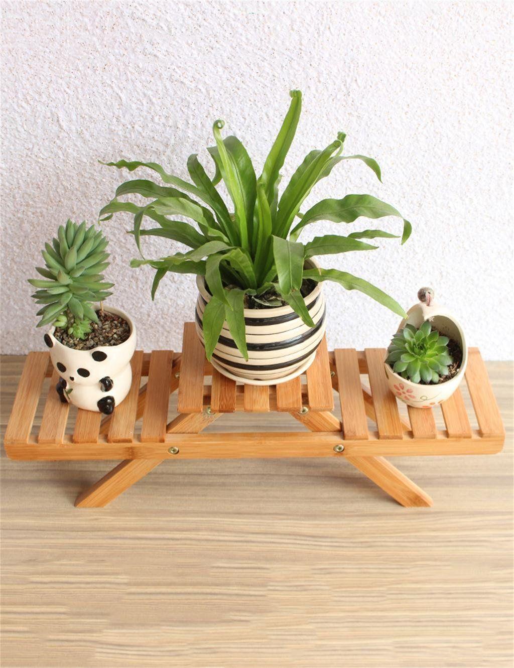 CAIJUN Blumenständer Bambus Tisch Blumen Topf Regal Succulents Pflanze