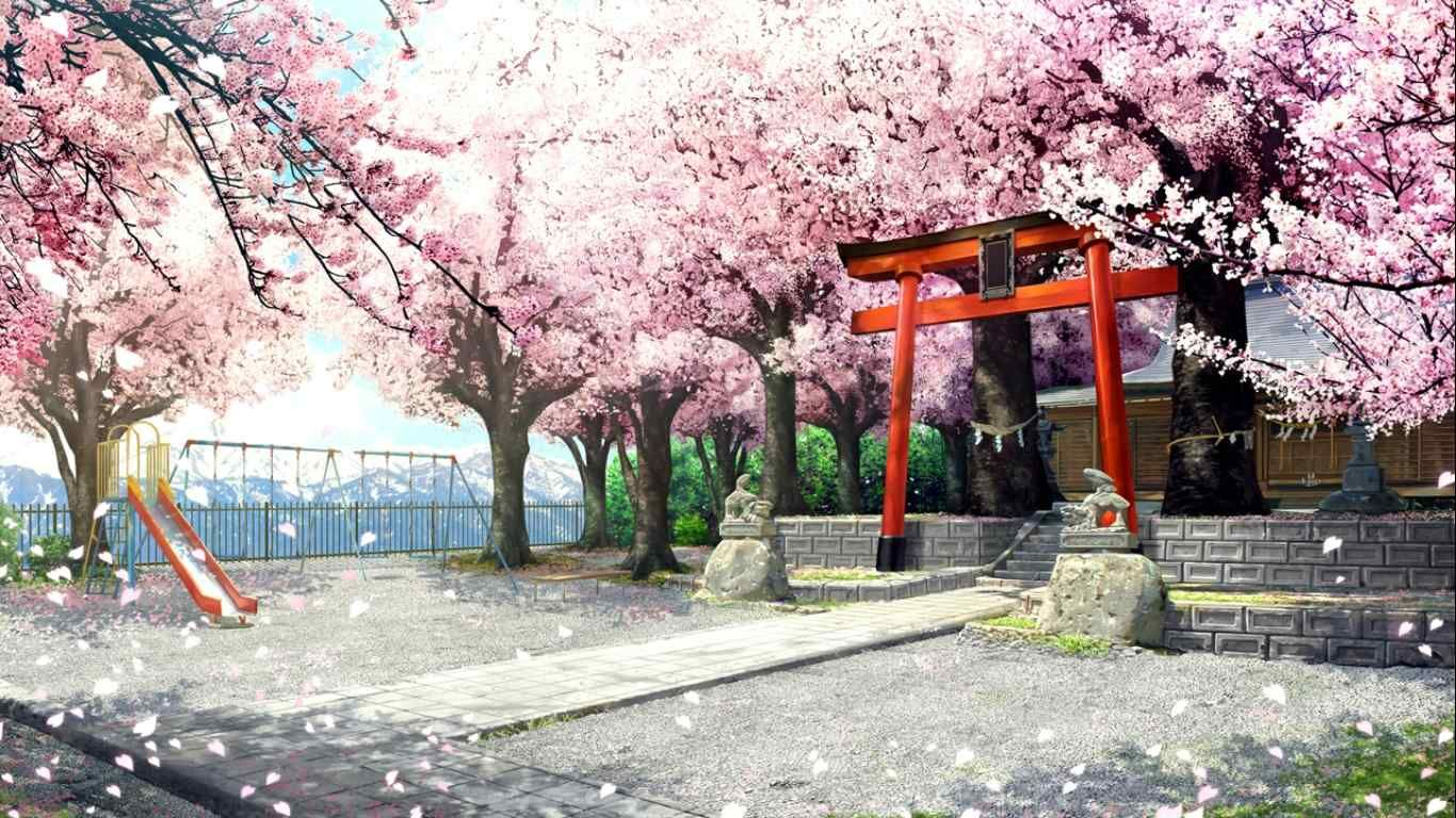 さくら 咲きました 神社 アニメの風景 神社 イラスト 風景