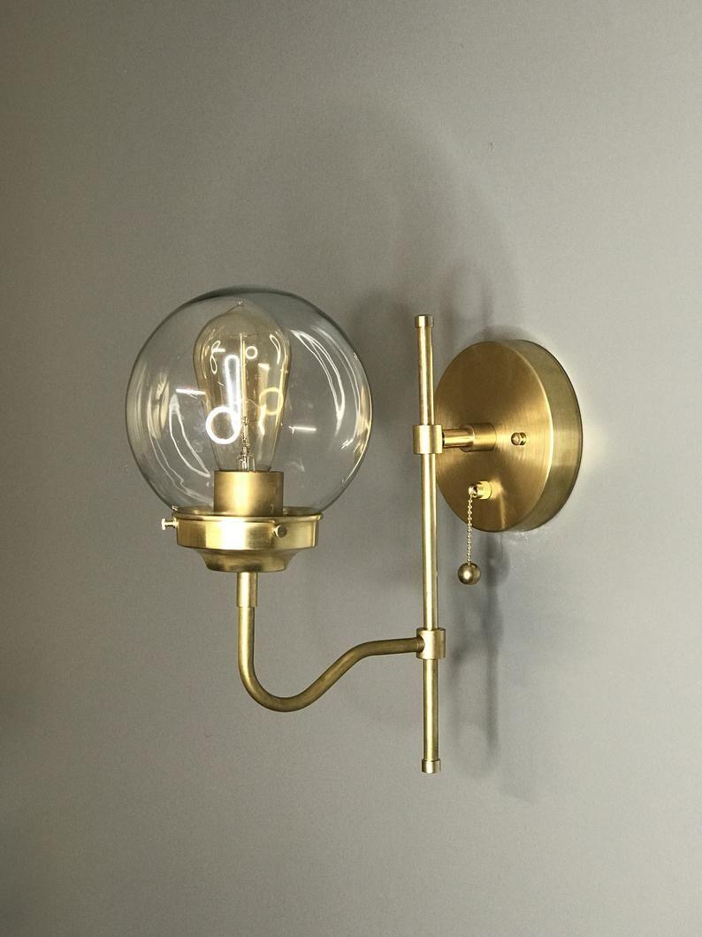 Kalon Gold Raw Brass Mid Century Modern Industrial 6in Pull Chain Vanity Light Midcentury Modern Modern Industrial Pull Chain