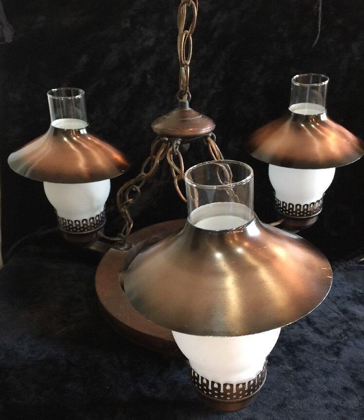 Vintage WOOD WAGON WHEEL HANGING CEILING LAMP/3 LIGHT FIXTURE CHANDELIER    EBay