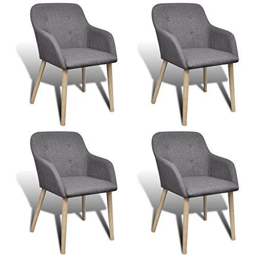 Vidaxl silla de comedor clásica roble y reposabrazos, 4 unidades ...
