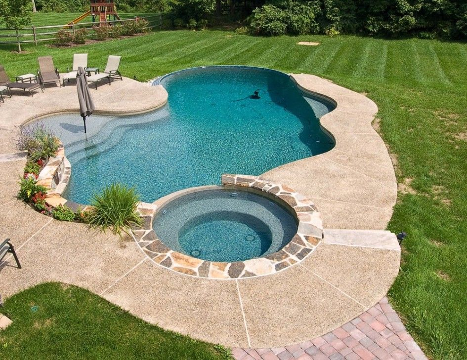 Inground swimming pool with tanning ledge and spa google for Pool design with tanning ledge