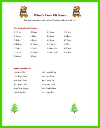 Christmas Baby Shower Games Elf Name Ice Breaker Holiday Baby