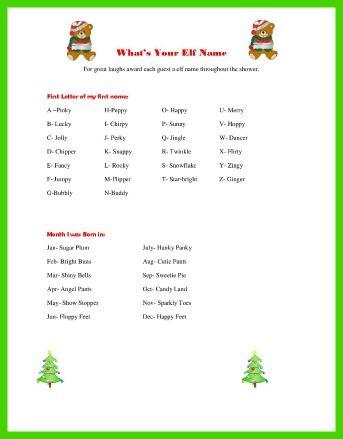 Christmas Baby Shower Games - Elf name ice breaker | Holiday Baby Shower!! | Pinterest