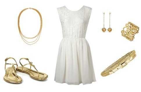 Resultado de imagen para outfit blanco accesorios dorados