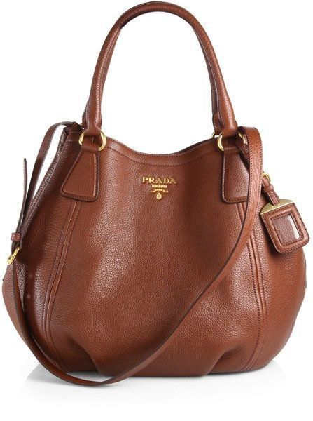 Prada Daino Convertible Satchel in Brown (MARRONE BROWN
