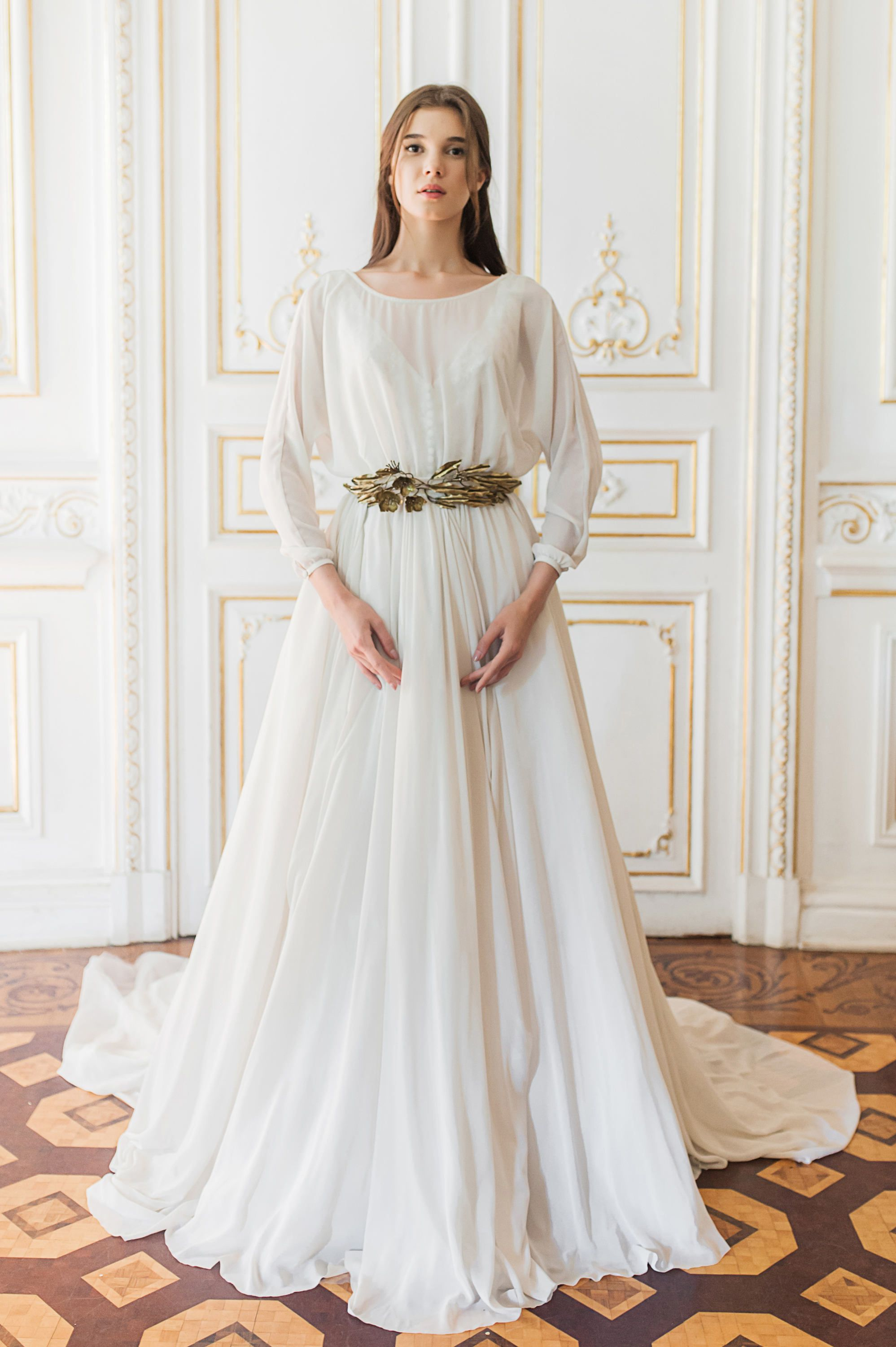 Long sleeve wedding gown with removable lace slip in 2020
