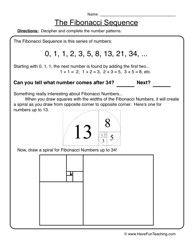 fibonacci sequence patterns worksheet 2 worksheets math and school. Black Bedroom Furniture Sets. Home Design Ideas