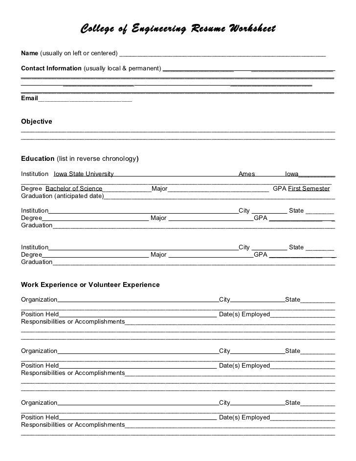 resume writing worksheets uncategorized career center resources