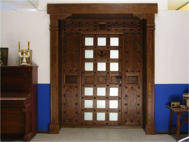 Puerta rustica chorro de arena con cristalamiento y fijos - Puerta rustica exterior ...