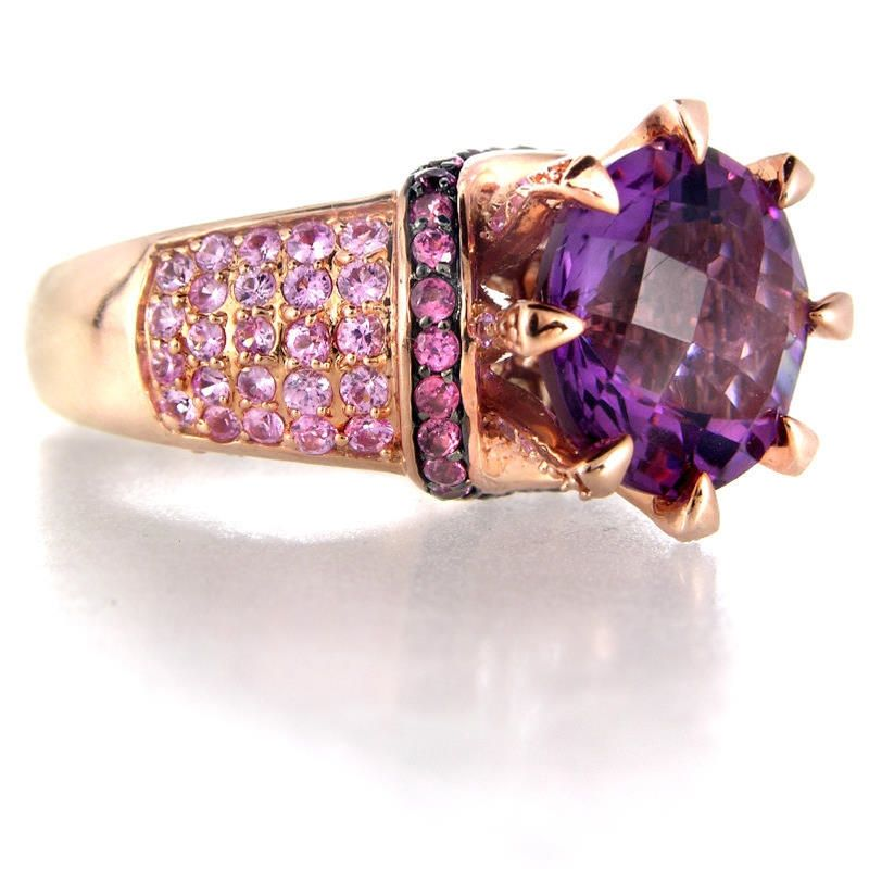 713ct Le Vian Amethyst 14k Rose Gold and Black Rhodium Ring Le
