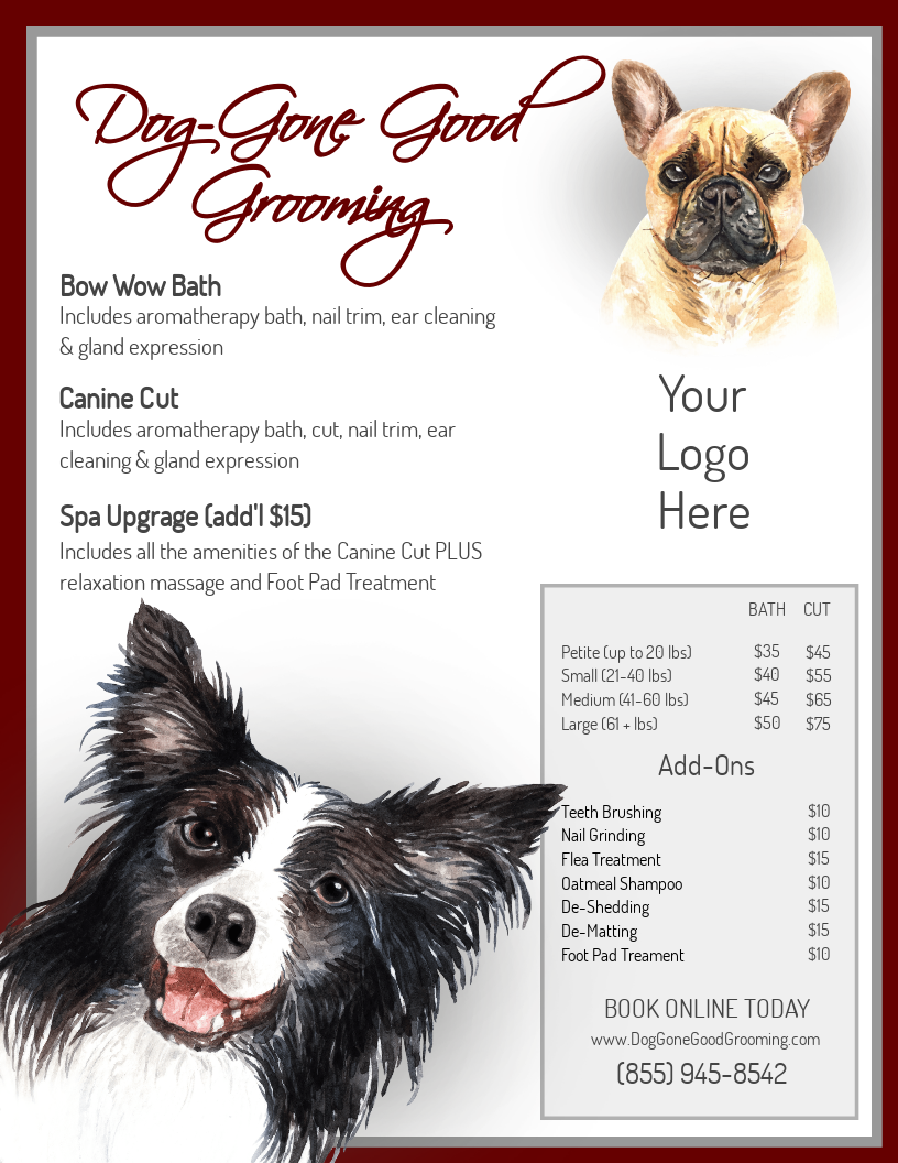 Dog Groomers Service Menu Pet Grooming Cat Groomer Service List Dog Spa Menu Doggy Day Care Pet Sitting Pet Care Service Template Cat Groomer Pet Grooming Mobile Pet Grooming